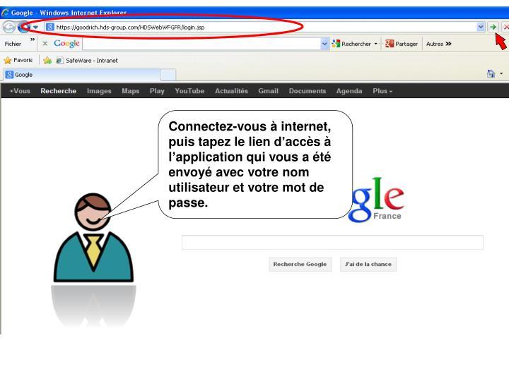 Connectez-vous  internet, puis tapez le lien daccs  lapplication qui vous a t envoy avec votre nom utilisateur et votre mot de passe.