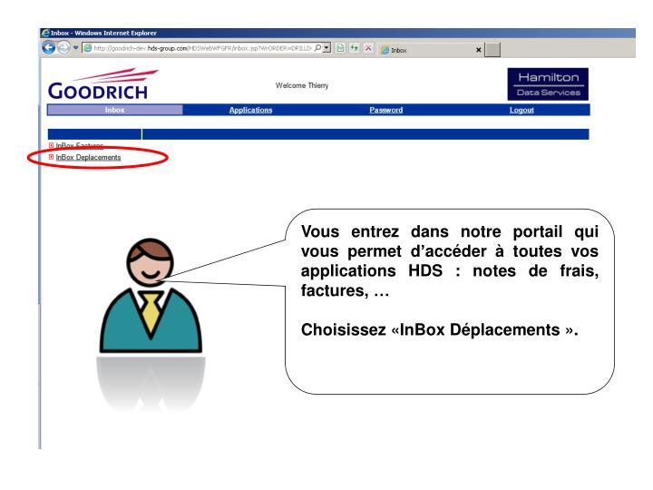 Vous entrez dans notre portail qui vous permet daccder  toutes vos applications HDS : notes de frais, factures,
