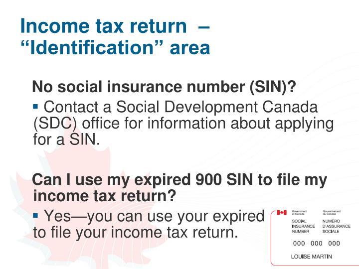 "Income tax return  – ""Identification"" area"