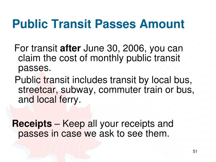 Public Transit Passes Amount