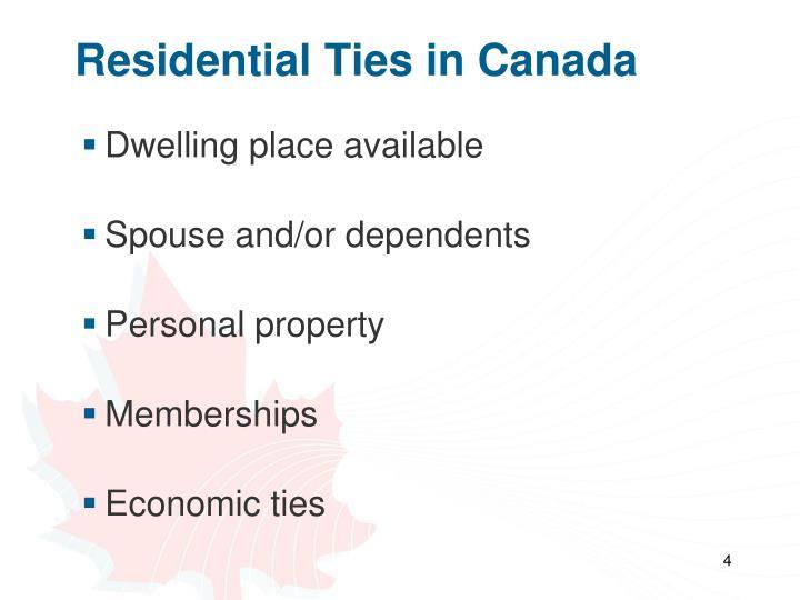 Residential Ties in Canada