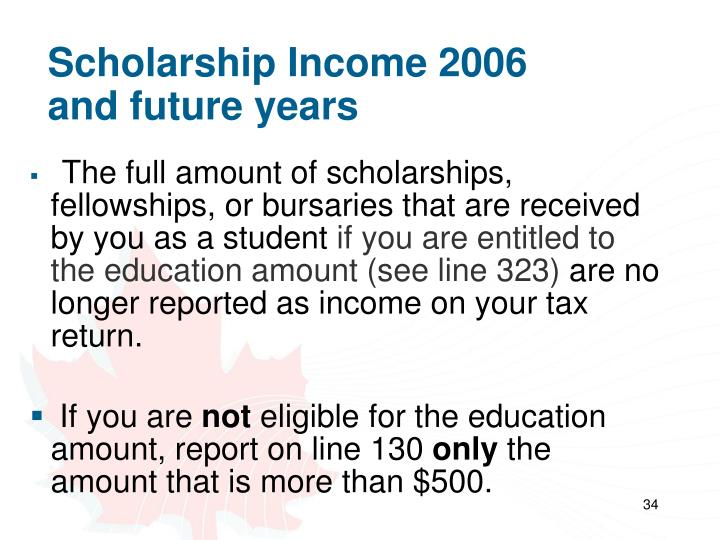 Scholarship Income 2006