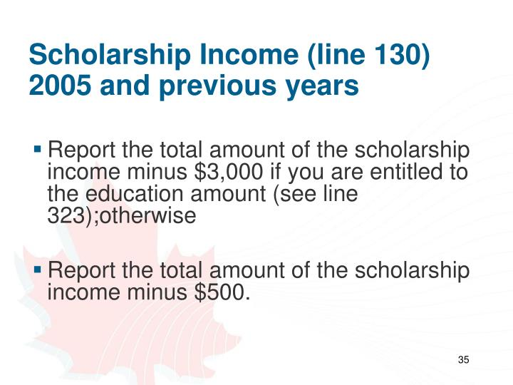 Scholarship Income (line 130)