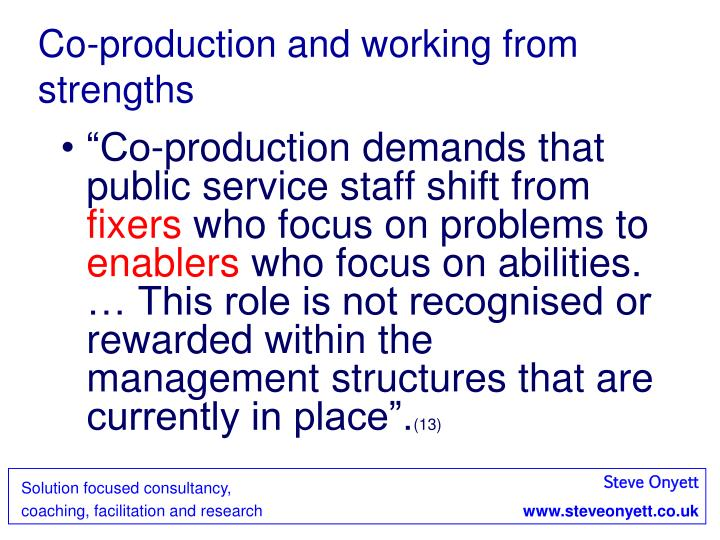 Co-production and working from strengths