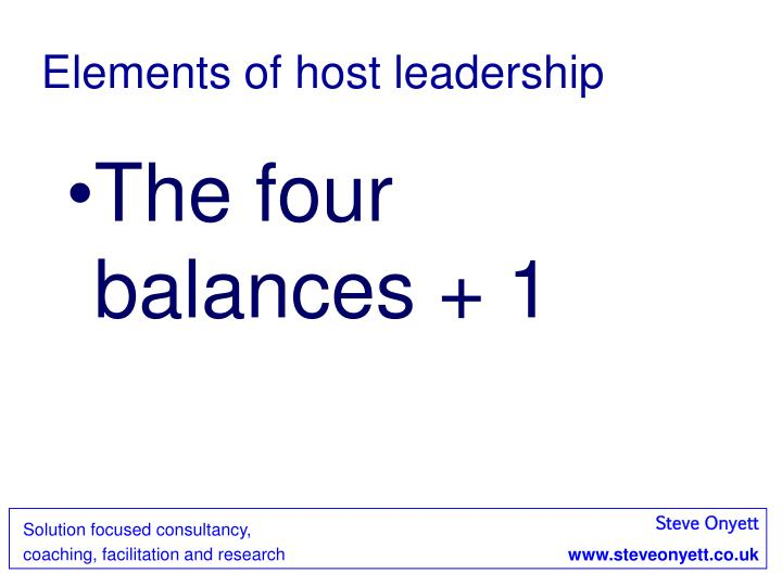 Elements of host leadership