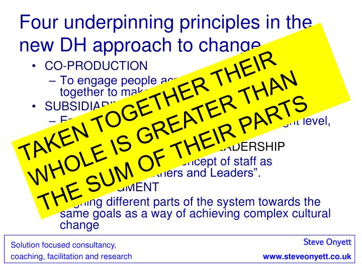 Four underpinning principles in the new DH approach to change