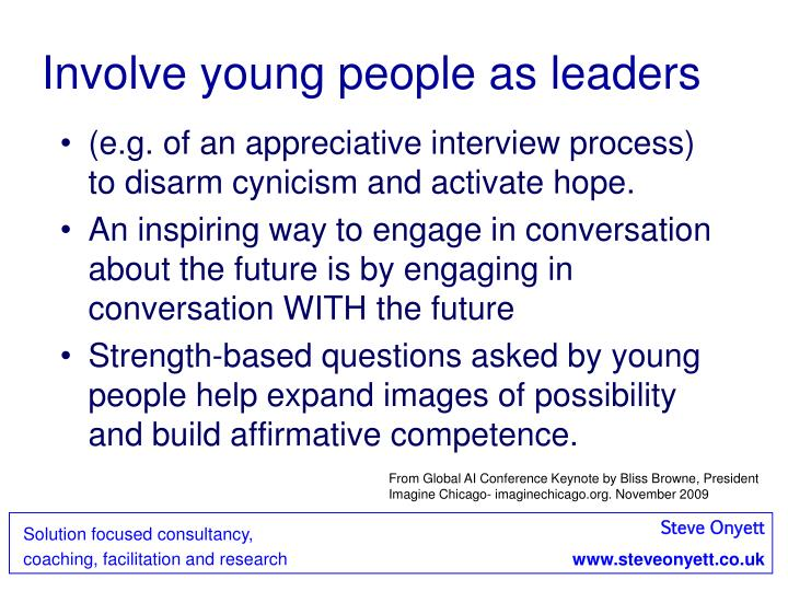 Involve young people as leaders