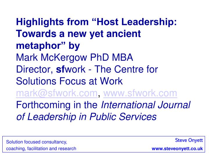 "Highlights from ""Host Leadership: Towards a new yet ancient metaphor"" by"