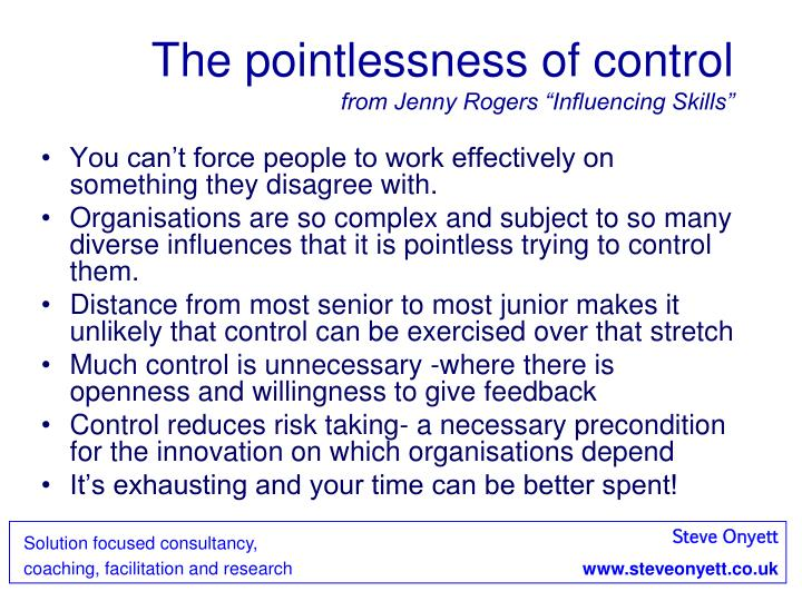 The pointlessness of control