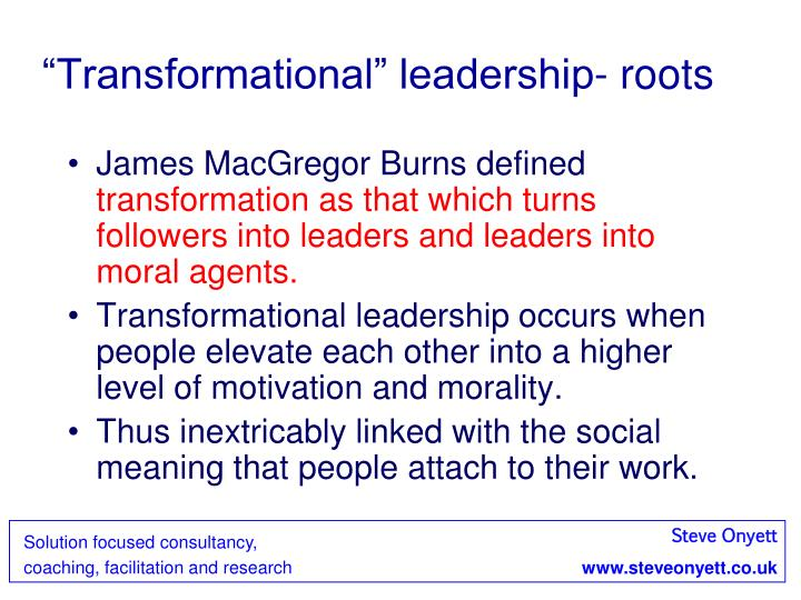 """Transformational"" leadership- roots"