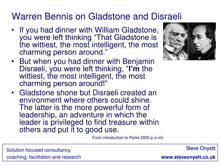 Warren Bennis on Gladstone and Disraeli