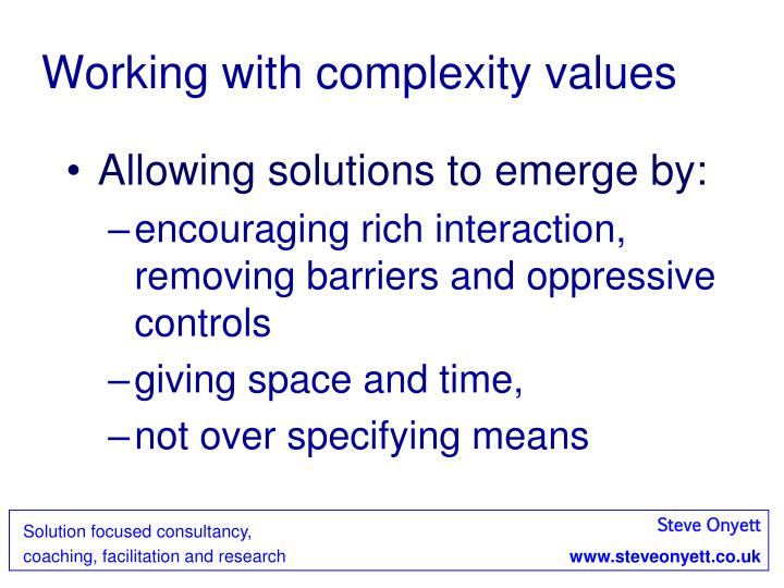 Working with complexity values
