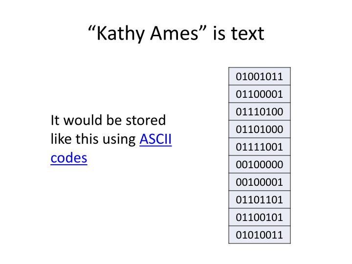 """Kathy Ames"" is text"