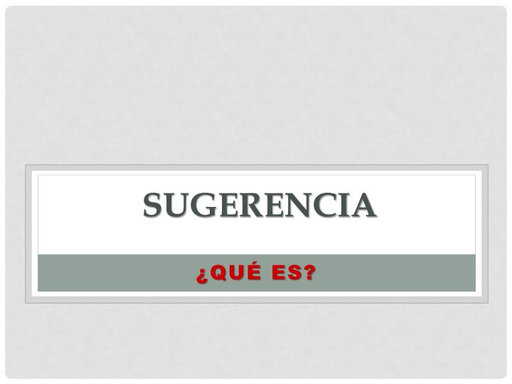 Sugerencia