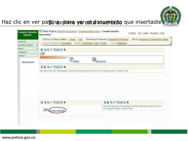 Haz clic en ver pagina, para ver el documento que insertaste
