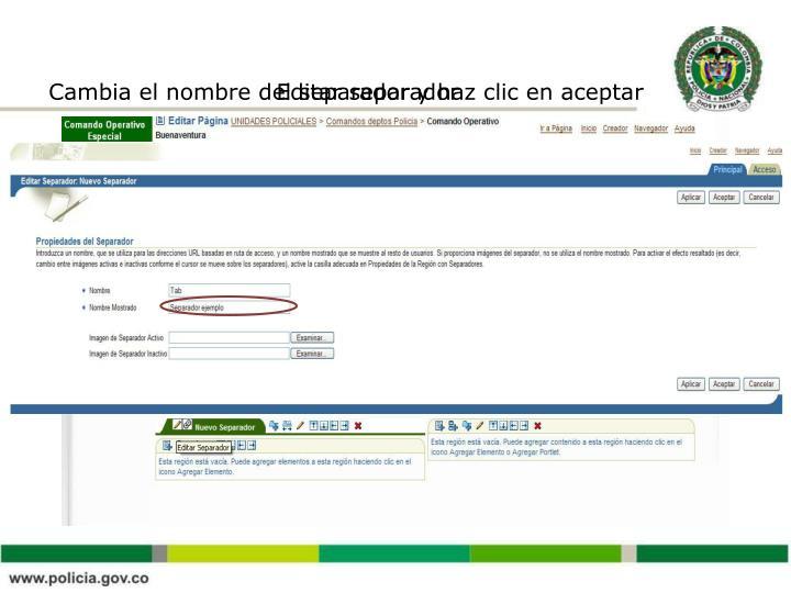 Cambia el nombre del separador y haz clic en aceptar