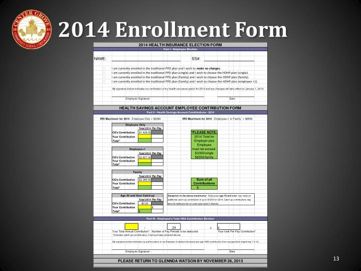 2014 Enrollment Form