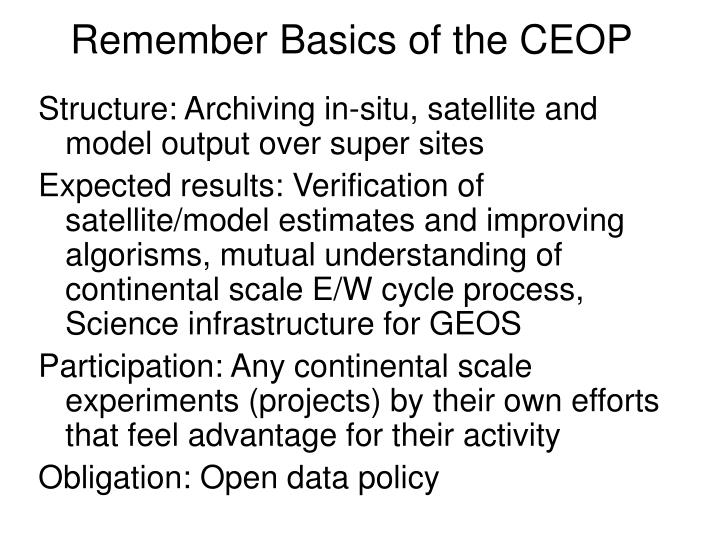 Remember basics of the ceop