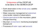 uniqueness of the ceop he to be done in the gewex ceop