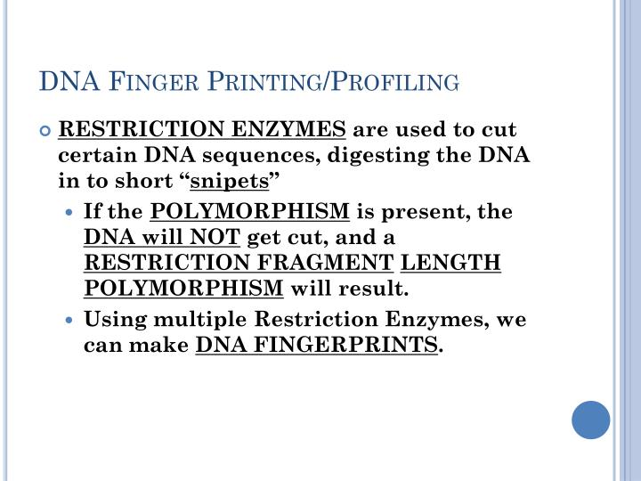 DNA Finger Printing/Profiling