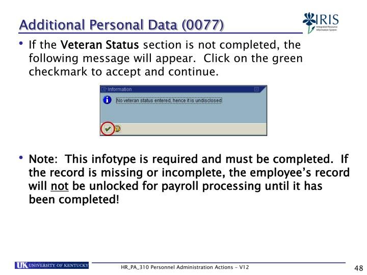 Additional Personal Data (0077)