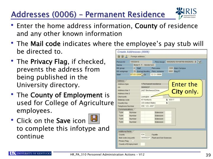 Addresses (0006) – Permanent Residence