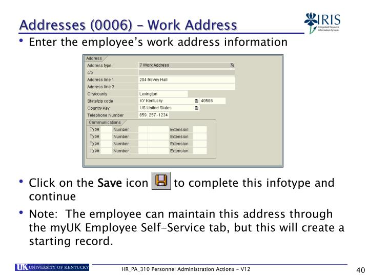 Addresses (0006) – Work Address