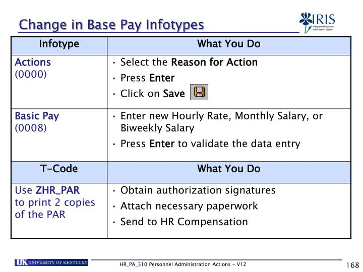 Change in Base Pay Infotypes
