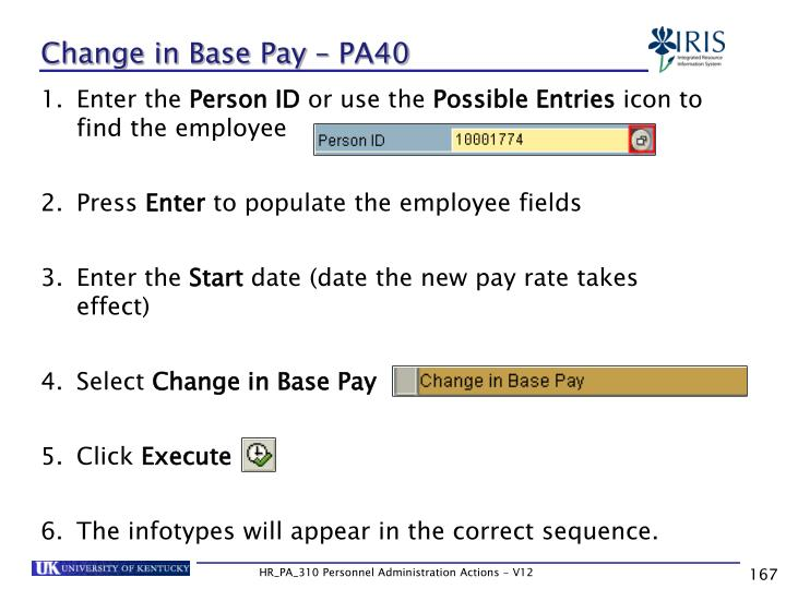 Change in Base Pay – PA40