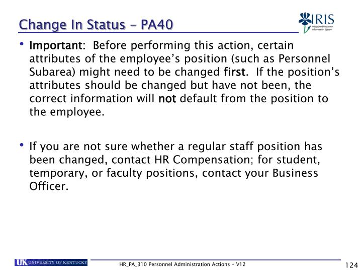 Change In Status – PA40