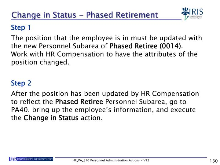 Change in Status - Phased Retirement