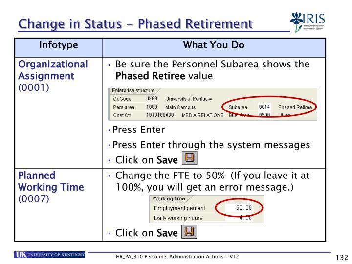 Change in Status - Phased Retirement