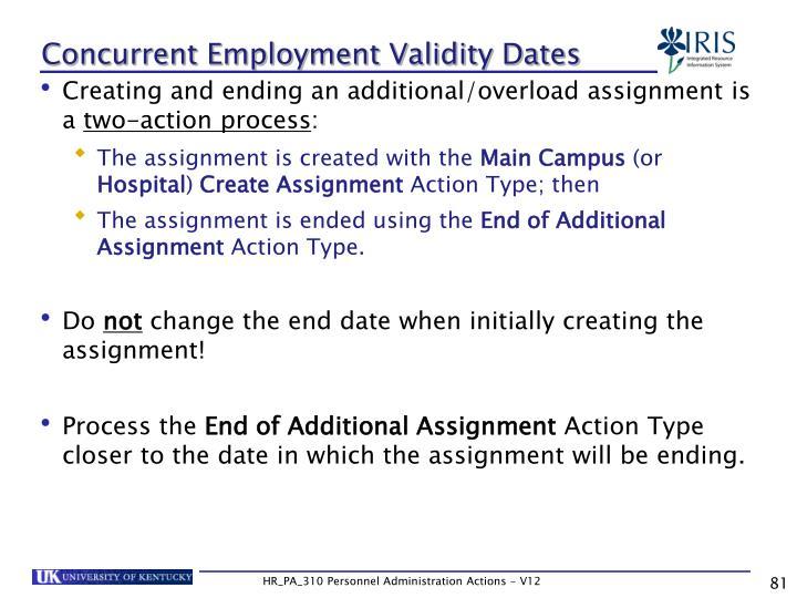 Concurrent Employment Validity Dates