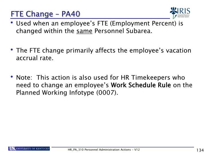 FTE Change – PA40