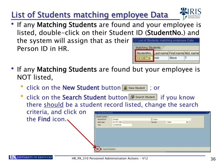 List of Students matching employee Data