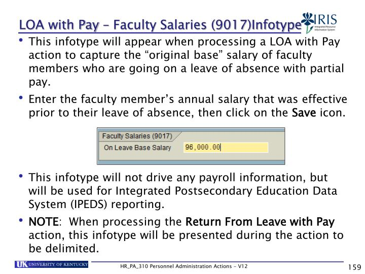 LOA with Pay – Faculty Salaries (9017)Infotype