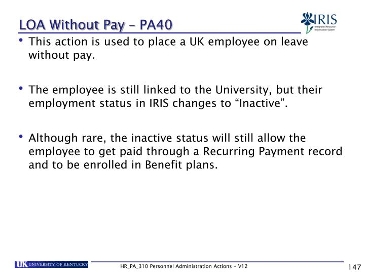 LOA Without Pay – PA40