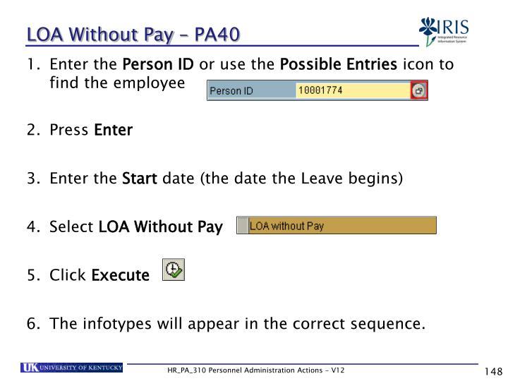 LOA Without Pay – PA40