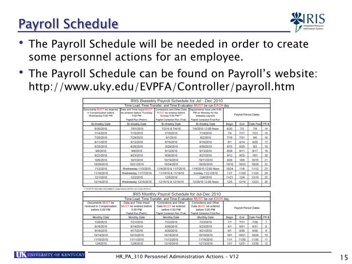 Payroll Schedule