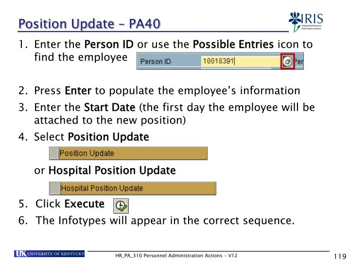 Position Update – PA40