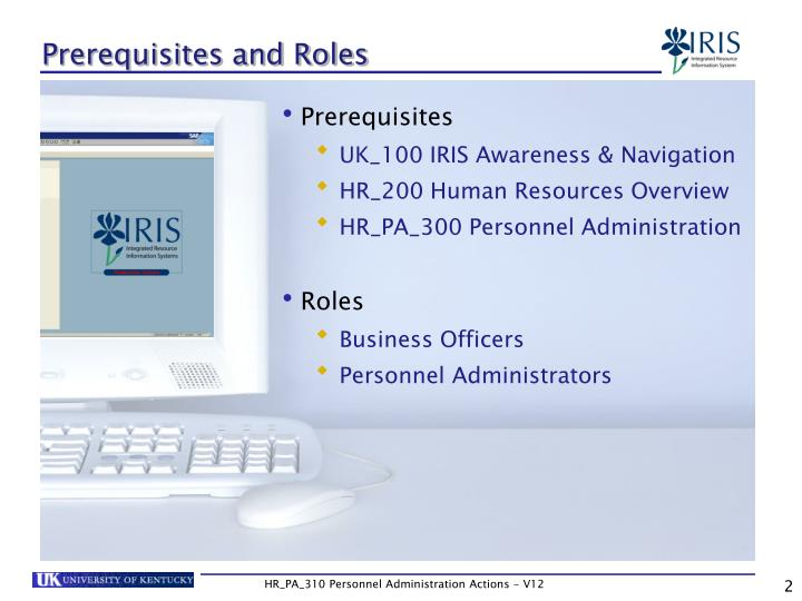 Prerequisites and Roles