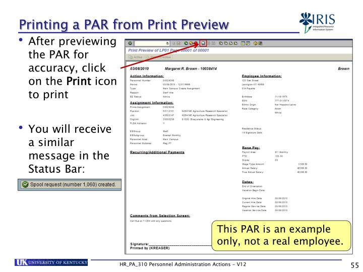 Printing a PAR from Print Preview