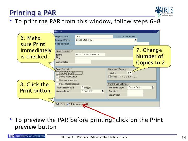 Printing a PAR