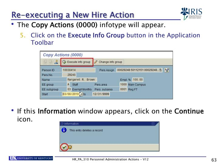 Re-executing a New Hire Action