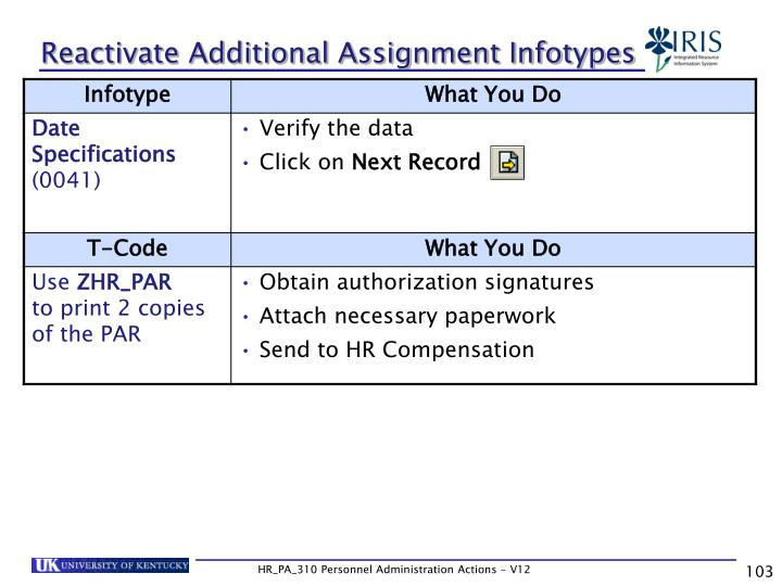 Reactivate Additional Assignment Infotypes