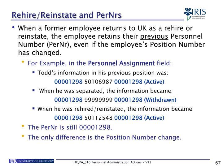 Rehire/Reinstate
