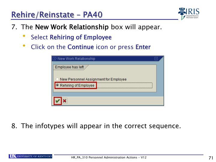 Rehire/Reinstate – PA40