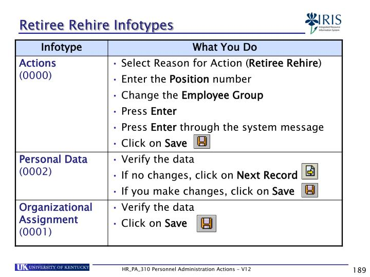 Retiree Rehire Infotypes