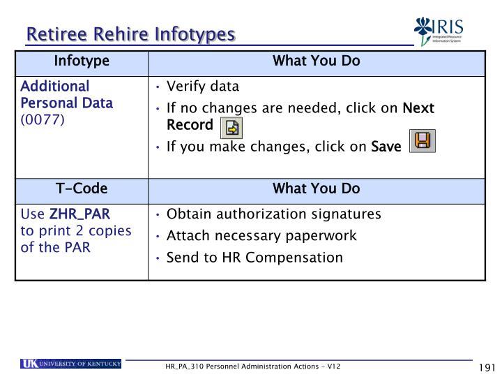 Retiree Rehire Infotypes
