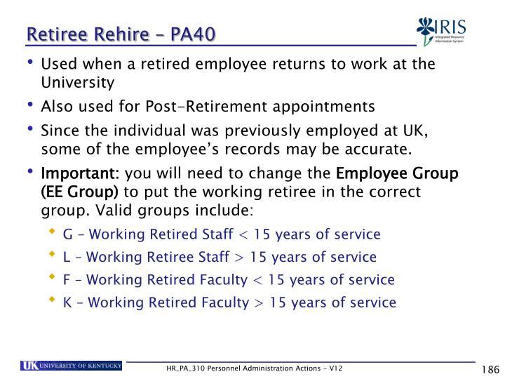 Retiree Rehire – PA40